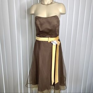 Alfred Angelo Strapless Golden Taupe Formal Dress